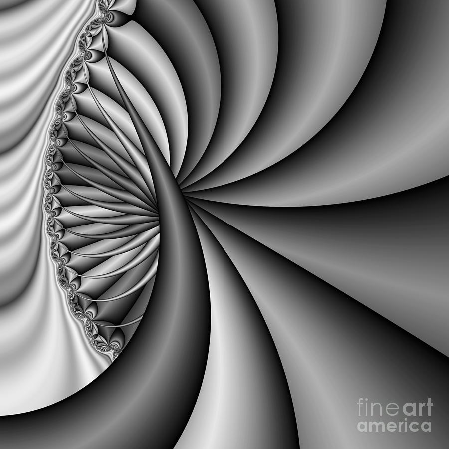 Spiral Abstract Digital Art - Abstract 531 Bw by Rolf Bertram