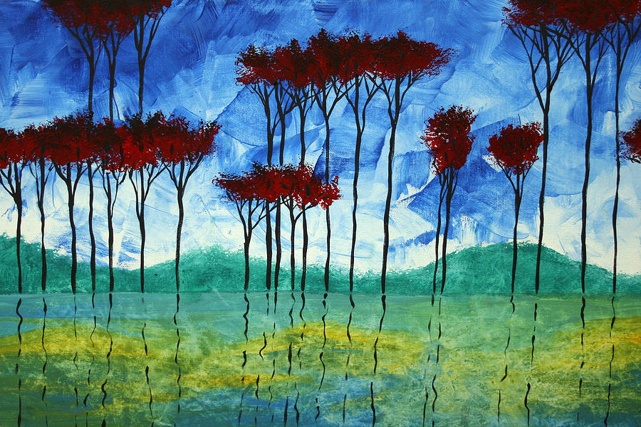 Abstract Painting - Abstract Art Original Landscape Painting Reflective Beauty By Madart by Megan Duncanson