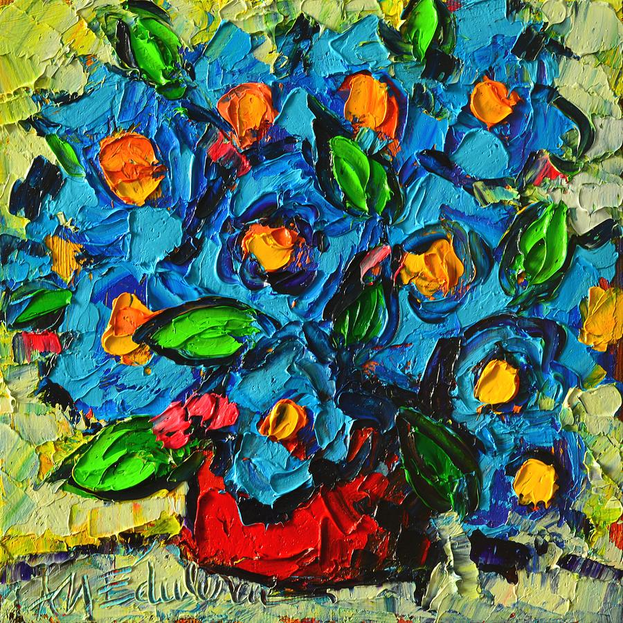 Abstract Blue Poppies In Red Vase Modern Original Palette ...