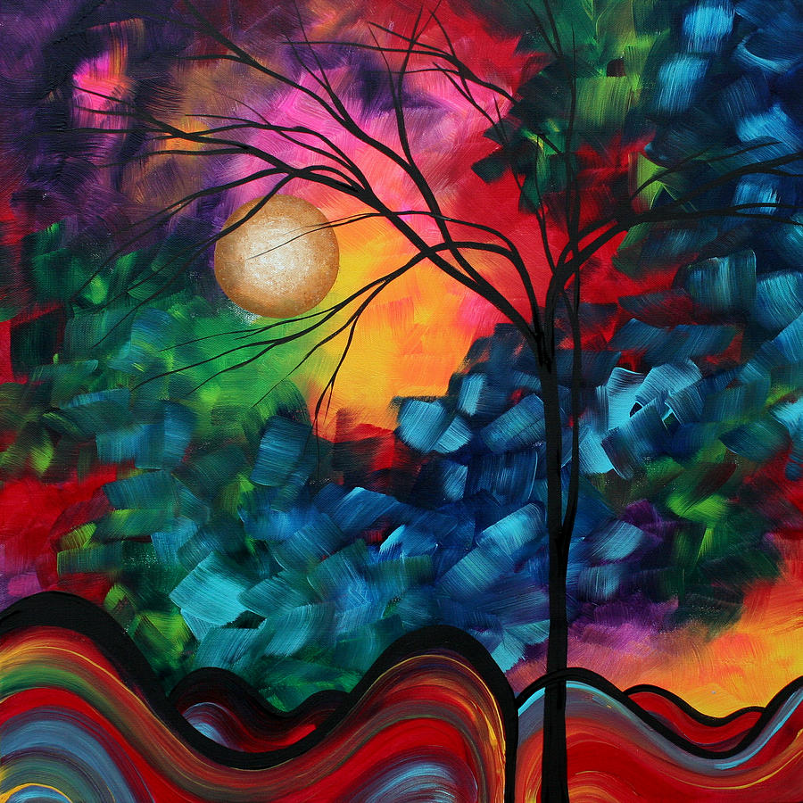 Abstract Painting - Abstract Landscape Bold Colorful Painting by Megan Duncanson