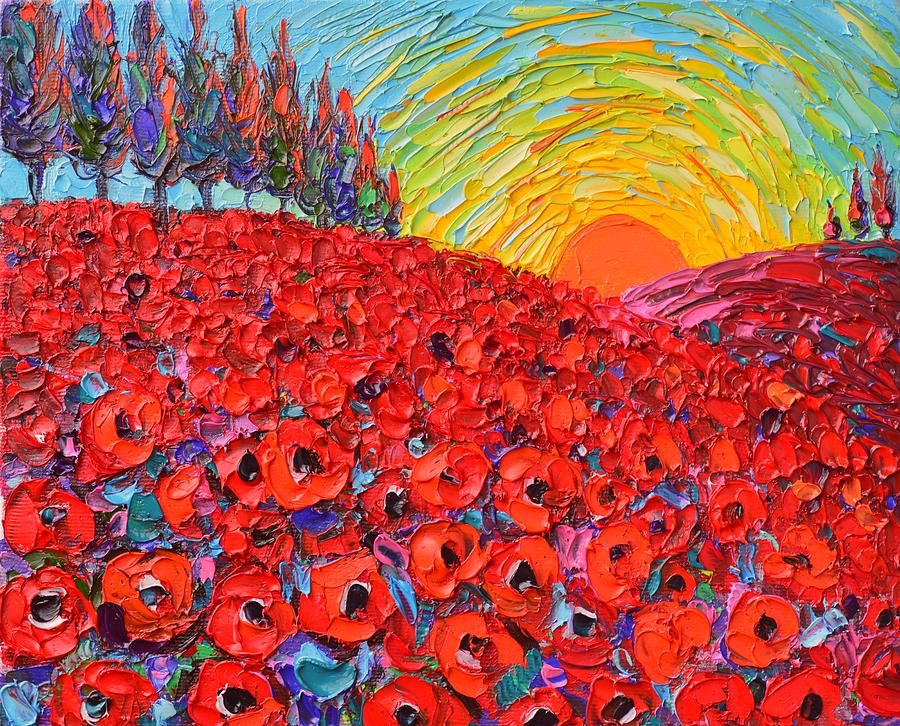 Poppy painting abstract landscape tuscany poppy hills at sunset by