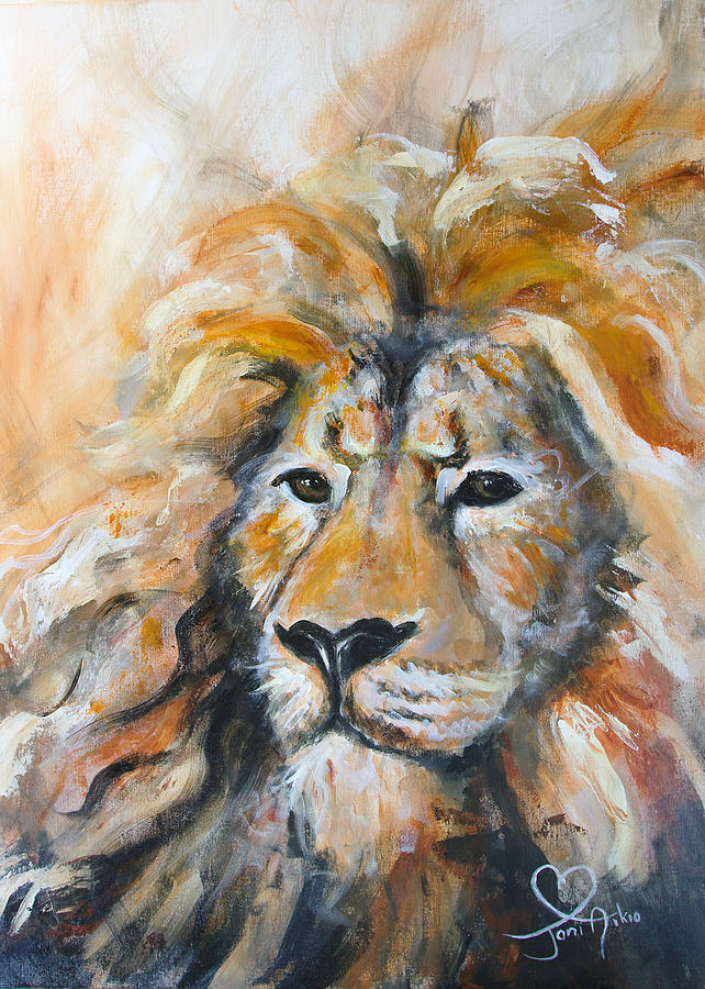 Lion painting abstract lion by joni aikio