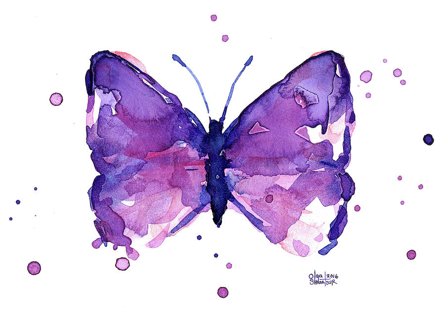 Abstract Purple Butterfly Watercolor Painting By Olga