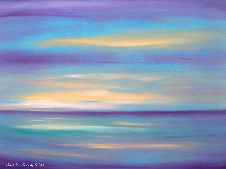 Abstract sunset in purple blue and yellow painting by gina for Purple and yellow painting