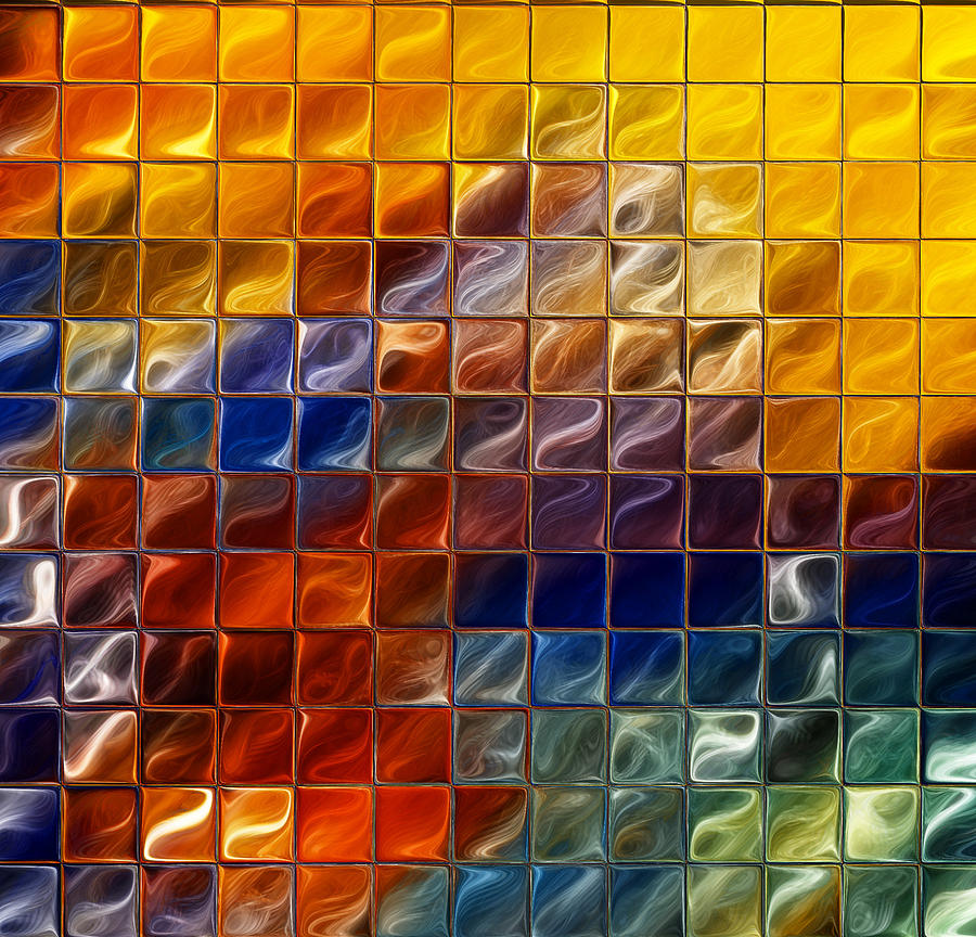 Office Wall Art Digital Art - Abstract -tiles by Patricia Motley