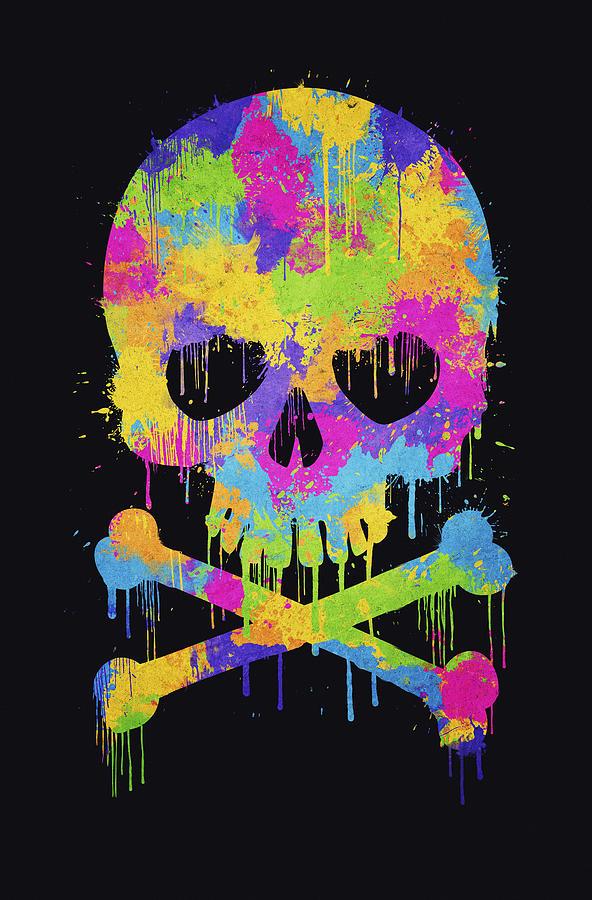 Abstract Trendy Graffiti Watercolor Skull Drawing By