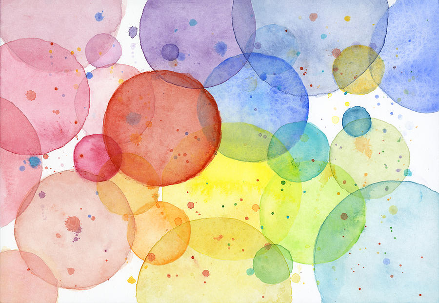 Abstract Watercolor Rainbow Circles Painting By Olga Shvartsur