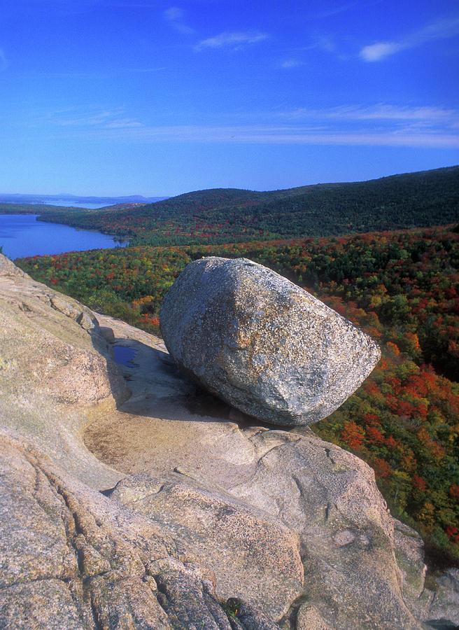 Acadia Bubble Rock Autumn Photograph