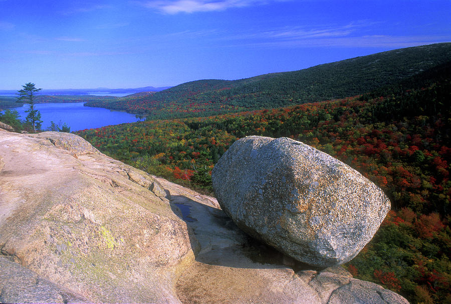 Acadia Bubble Rock Photograph by John Burk