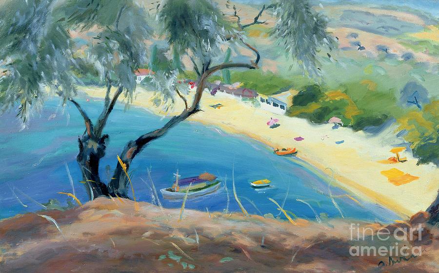 Landscape; Greek; Aegean; Beach Scene; Olive Tree; Boats Painting - Achladies Bay - Skiathos - Greece by Anne Durham