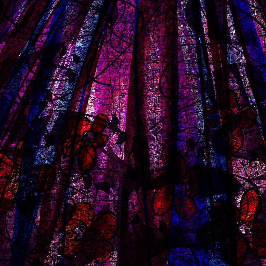 Abstract Digital Art - Acid Rain With Red Flowers by Rachel Christine Nowicki