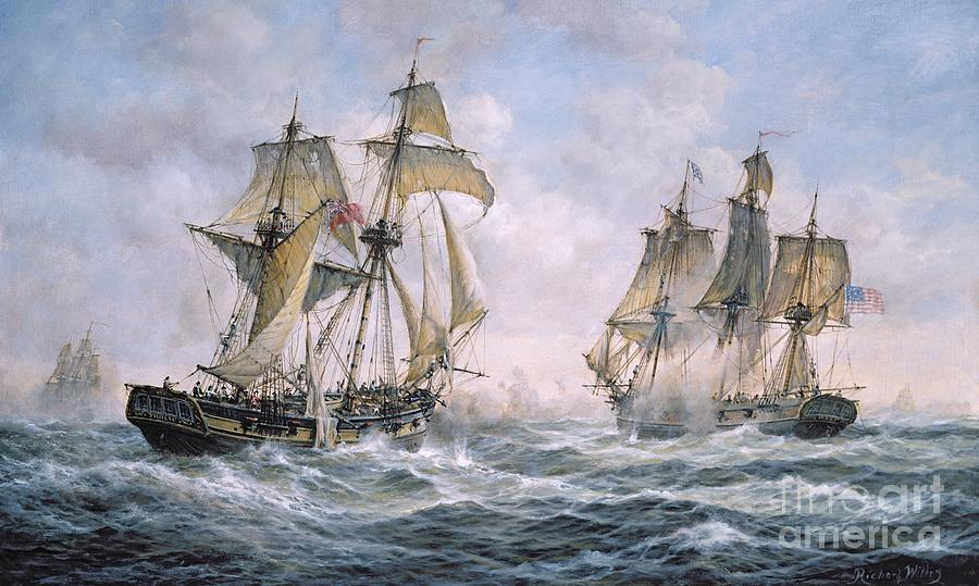 Seascape; Ships; Sail; Sailing; Ship; War; Battle; Battling; United States; Wasp; Brig Of War; Frolic; Sea; Water; Cloud; Clouds; Flag; Flags; Sloop; Action; Wave; Waves Painting - Action Between U.s. Sloop-of-war wasp And H.m. Brig-of-war frolic by Richard Willis