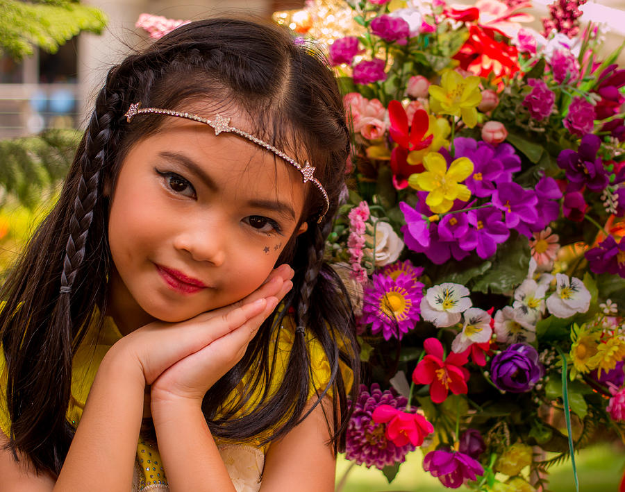 Adorable little thai girl and flowers photograph by john for Tiny thai teen