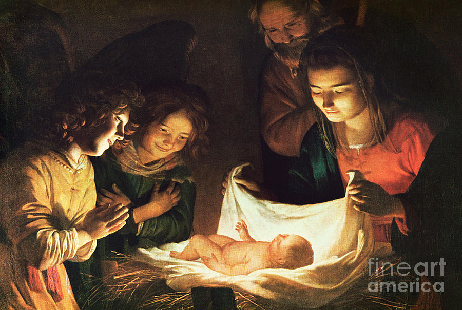 Adoration Of The Baby Painting - Adoration Of The Baby by Gerrit van Honthorst