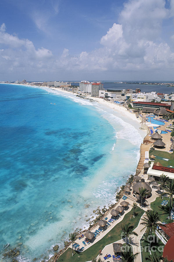 Aerial Photograph - Aerial Of Cancun by Bill Bachmann - Printscapes