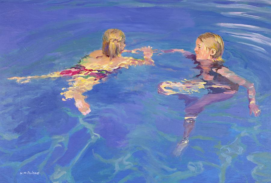 Afloat painting by william ireland - Swimming pool girl christmas vacation ...