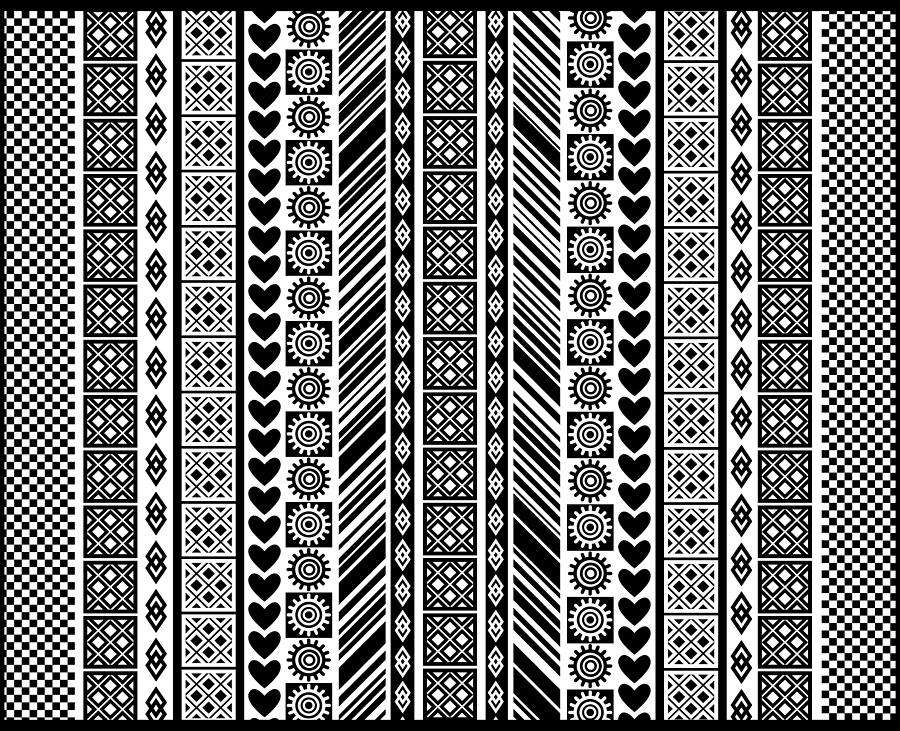 ... Art - African Adinkra Pattern In Black And White by Cynthia Gail Manor