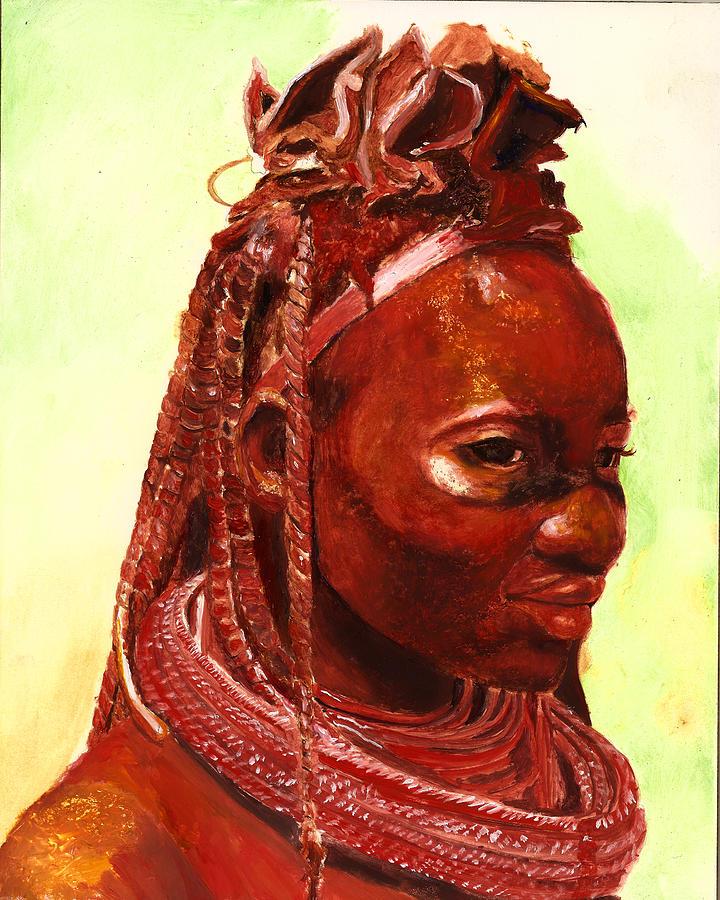 People Portrait Painting - African Beauty by Enzie Shahmiri