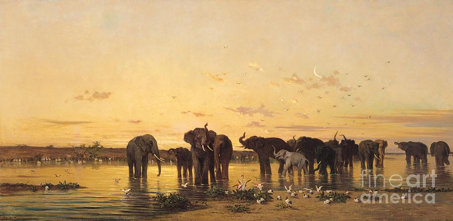 African Elephants (oil On Canvas) By Charles Emile De Tournemine (1812-72) Painting - African Elephants by Charles Emile de Tournemine