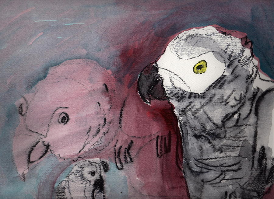 African Gray Dilemma Painting