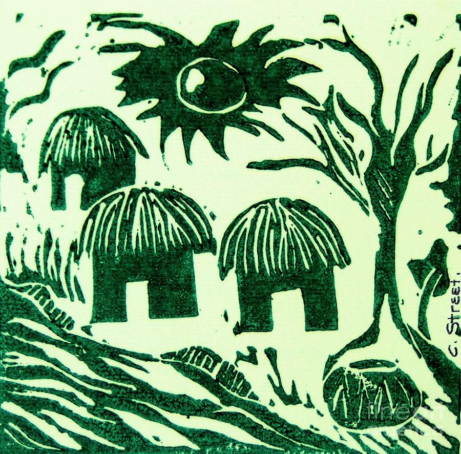Lino Cutting Relief - African Huts by Caroline Street