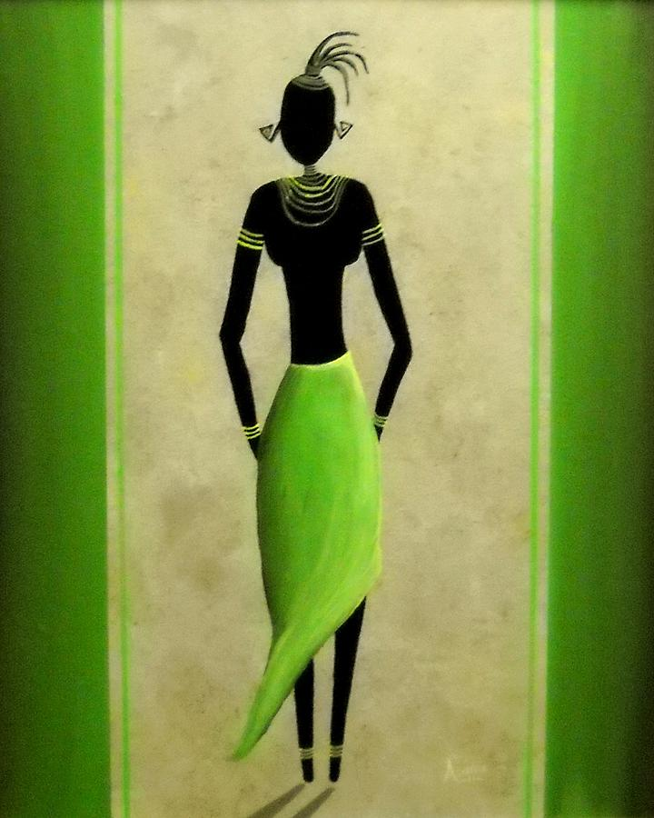 Yellow Painting - African Lady by Edwin Alverio