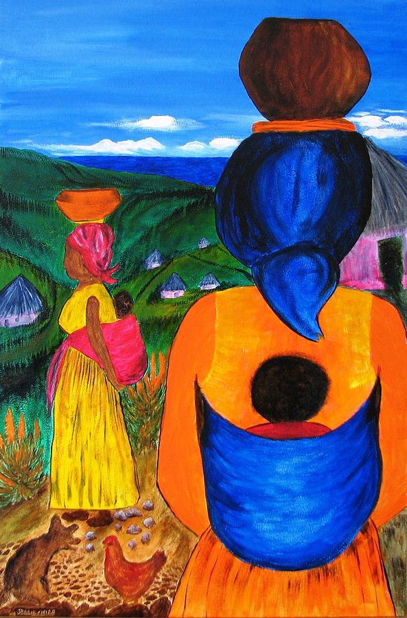 Family Painting - African Life 2919 by Jessie Meier
