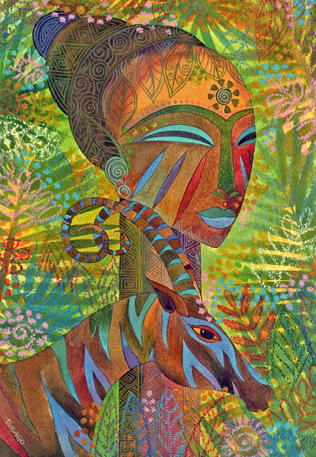 Exotic Jungle African Mask Tropical Antelope  Painting - African Queens by Jennifer Baird
