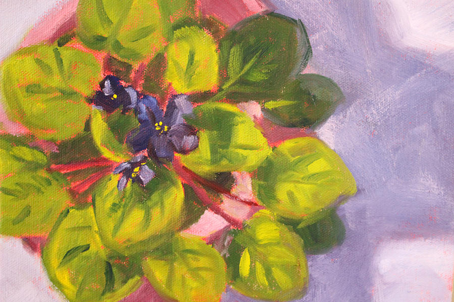 African Painting - African Violet Still Life Oil Painting by Nancy Merkle