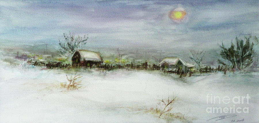After A Heavy Fall Of Snow Painting