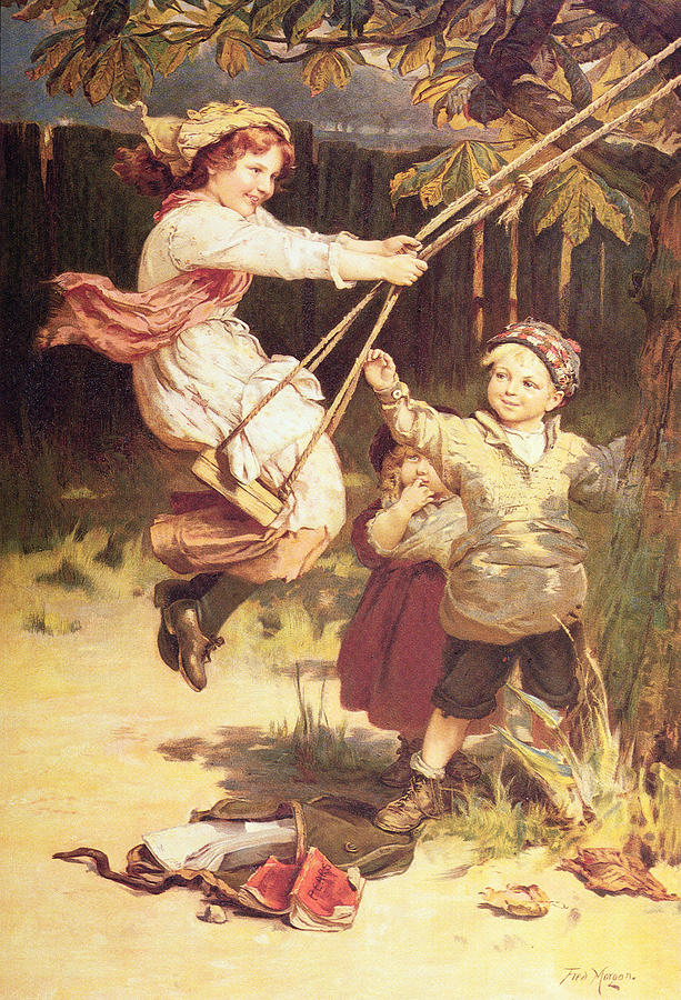 Swing; Swings; Boy; Girl; Male; Female; Child; Children; Playing; Schoolbooks; Books; Balancoire Painting - After School by Frederick Morgan