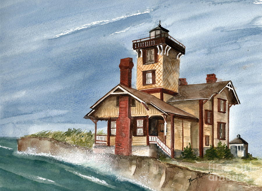 Hereford Inlet Lighthouse Painting - After The Storm by Nancy Patterson