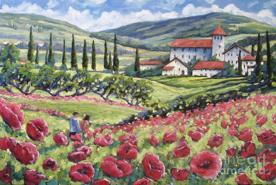 Tuscan Painting - Afternoon Stroll by Richard T Pranke