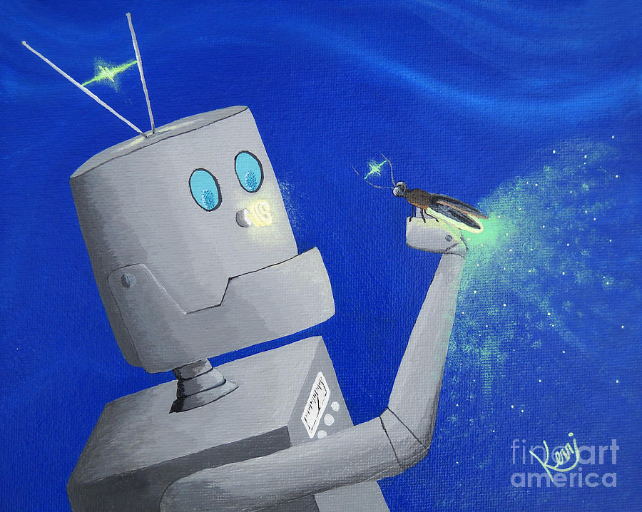 Robot Painting - A.i. And The Firefly by Kerri Ertman