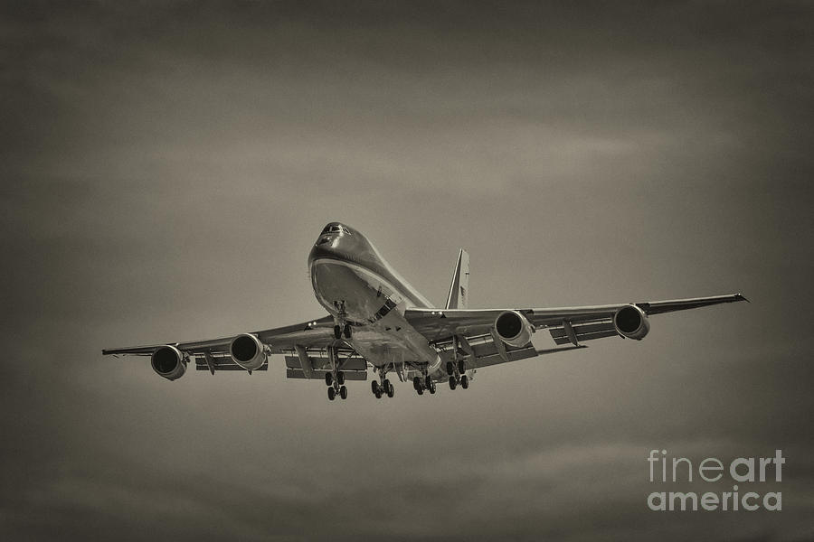 Air Force One Sepia Photograph