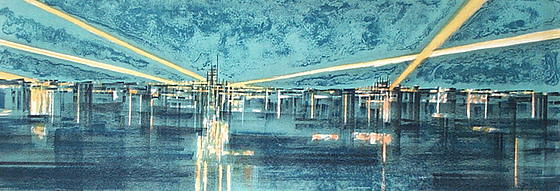 Landscape Signed Mixed Media - Airport by Richard Aberle Florsheim