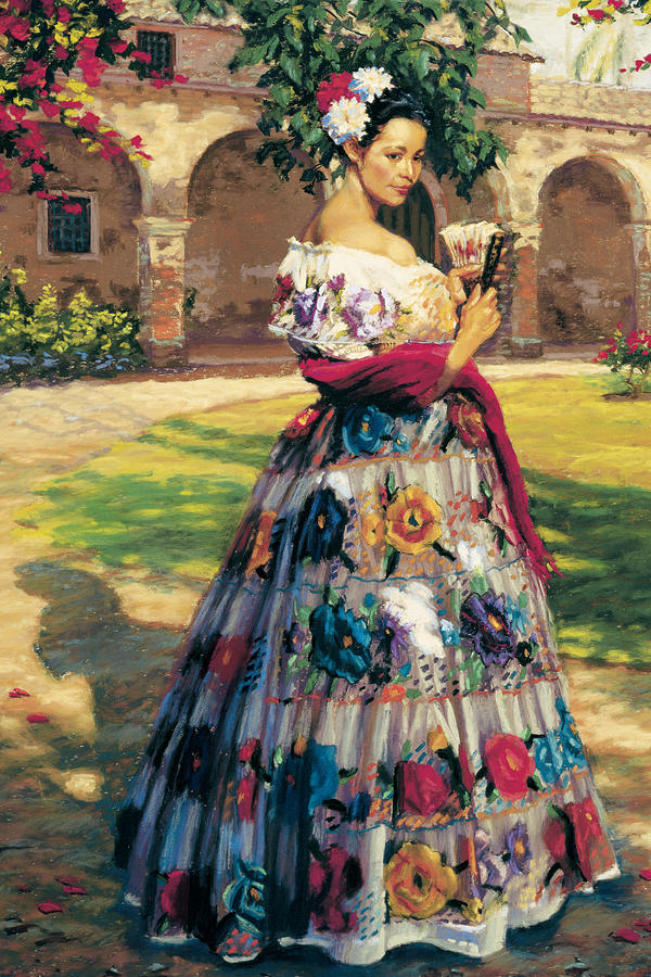 Woman Elaborately Embroidered Mexican Dress.  Background  Mission San Juan Capistrano. Painting - Al Aire Libre by Jean Hildebrant