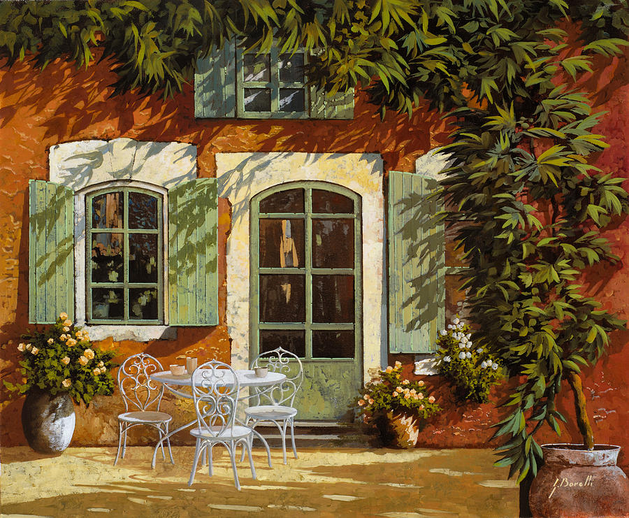 Landscape Painting - Al Fresco In Cortile by Guido Borelli