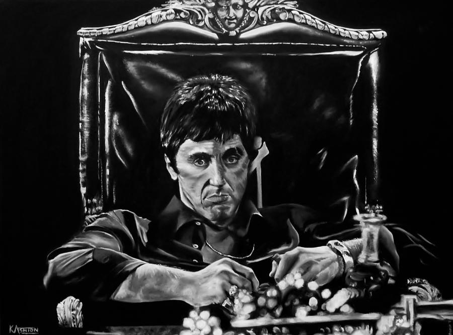 Al Pacino Black And White Paint Print