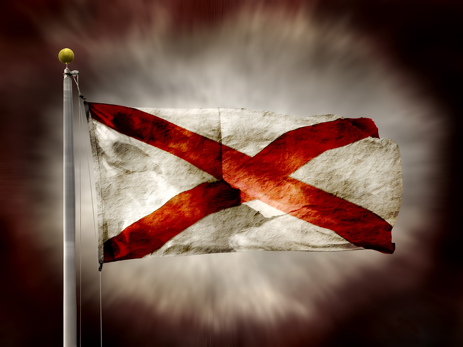 Alabama State Flag Photograph - Alabama State Flag by Steven  Michael