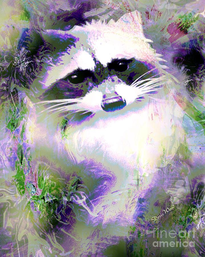 Digital Art Digital Art - Albino Raccoon by Doris Wood
