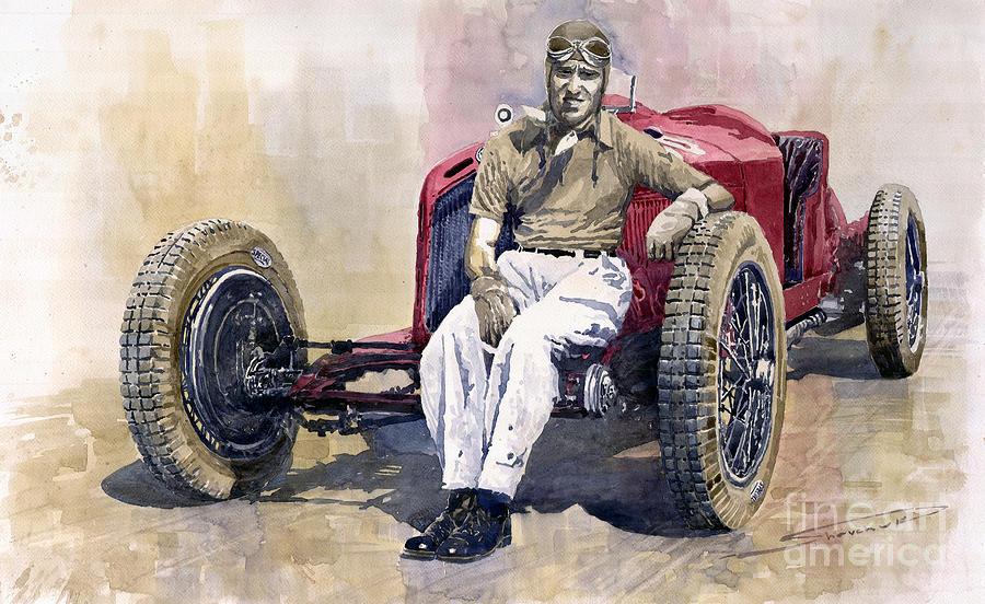Watercolor Painting - Alfa Romeo Monza Tazio Nuvolari 1932 by Yuriy  Shevchuk