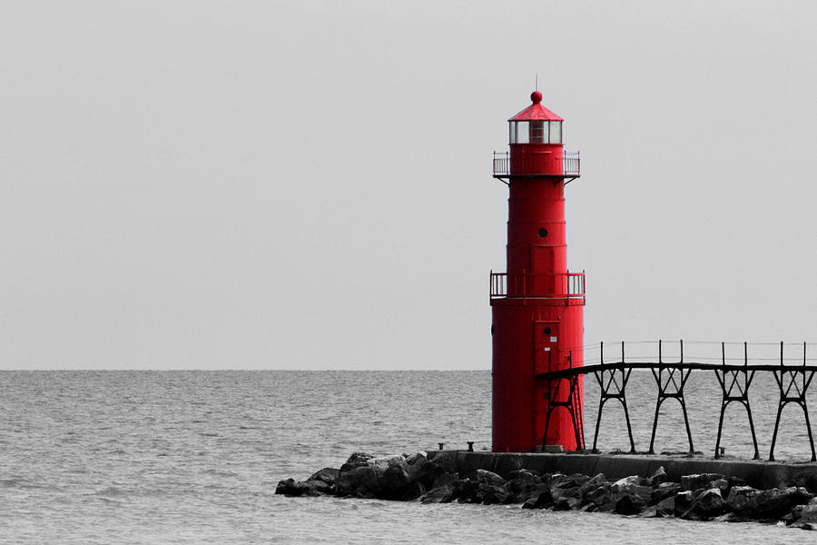 Algoma Photograph - Algoma Lighthouse Bwc by Mark J Seefeldt