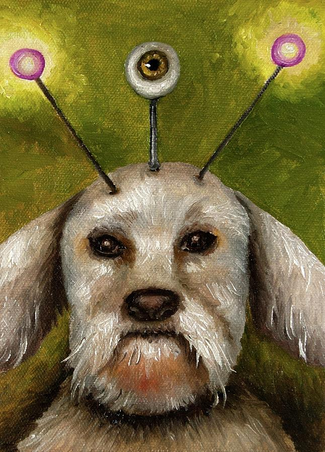 Dog Painting - Alien Dog by Leah Saulnier The Painting Maniac