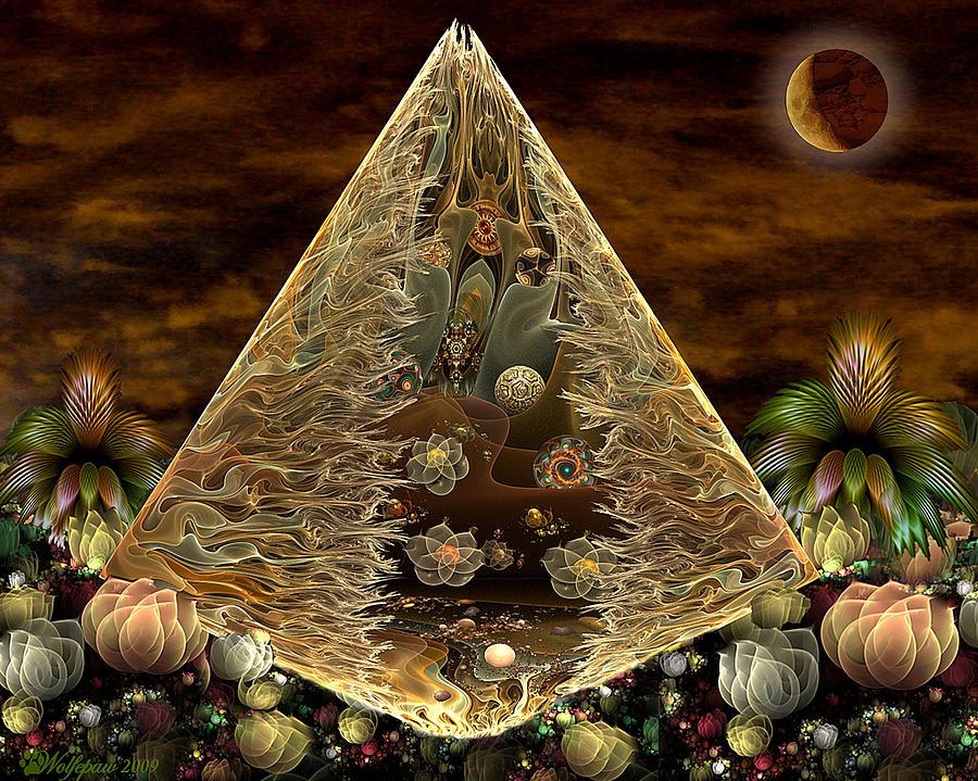 Fractal Digital Art - Alien Pyramid by Peggi Wolfe