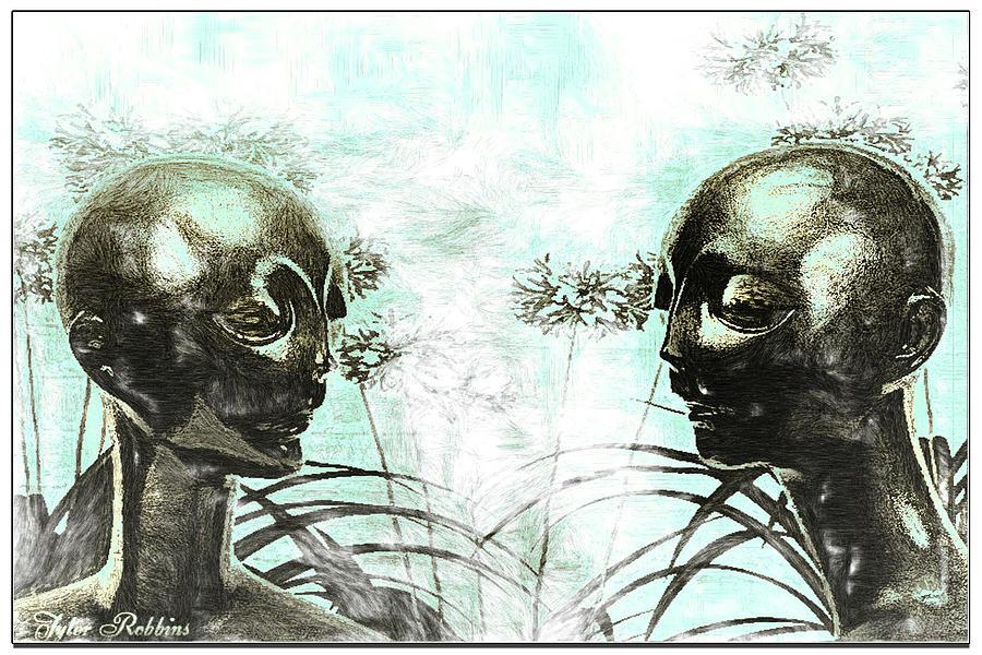 Aliens In My Garden Painting