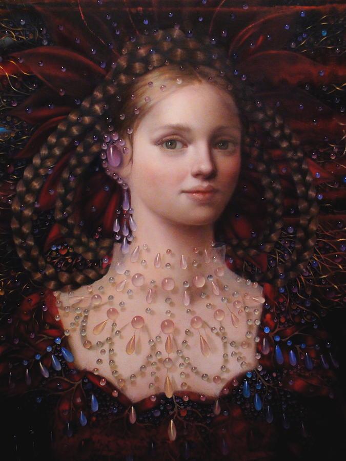 Exotic Woman Painting - Alizarin Closeup by Loretta Fasan