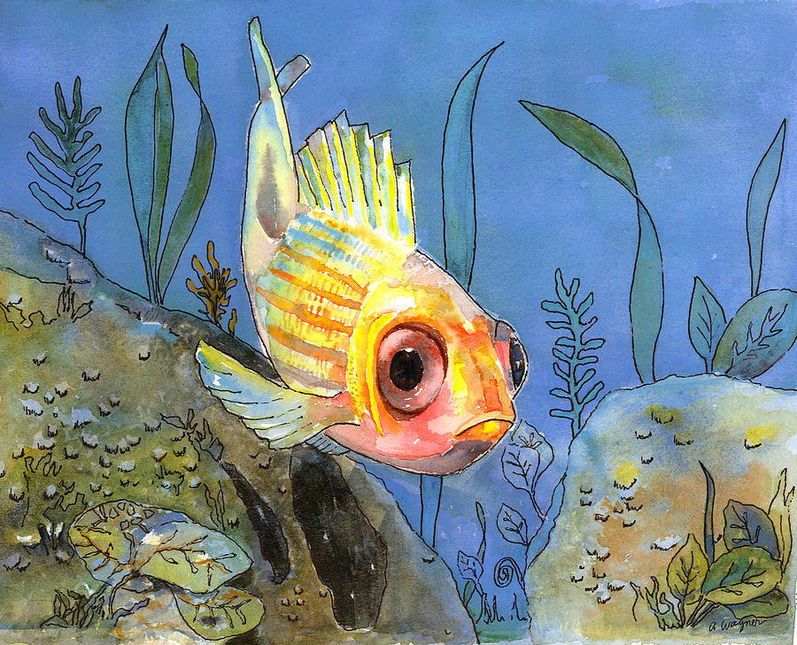 Fish Painting - All Alone - Squirrel Fish by Arline Wagner