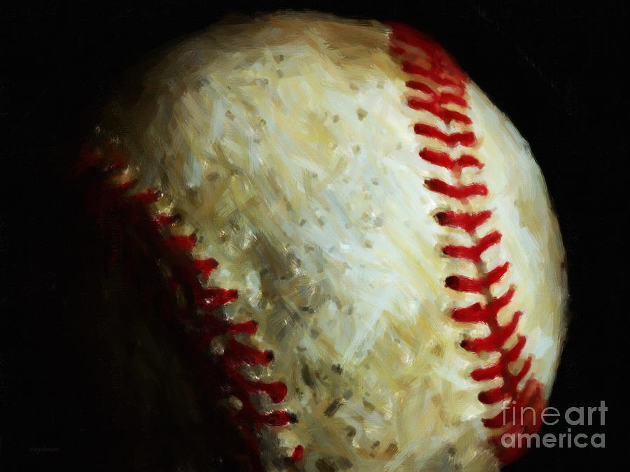 Baseball Photograph - All American Pastime - Baseball - Painterly by Wingsdomain Art and Photography