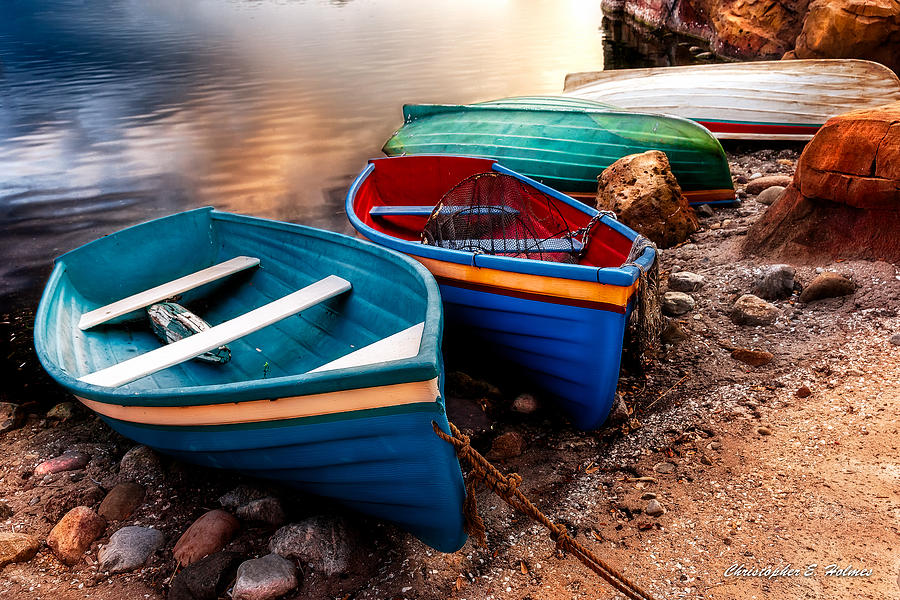 Boats Photograph - All Ashore by Christopher Holmes
